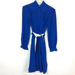 Vintage 70s Royal 100% Silk Dress 6 Blue Tie Waist